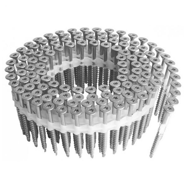 Coil Magazinschrauben 5,0×70 RF V2A Holzschrauben mit Bohrspitze TX25