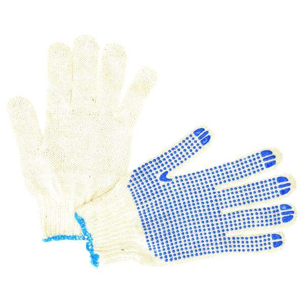 Handschuh Nylon PVC Weiß/Blau Punkte Größe 9