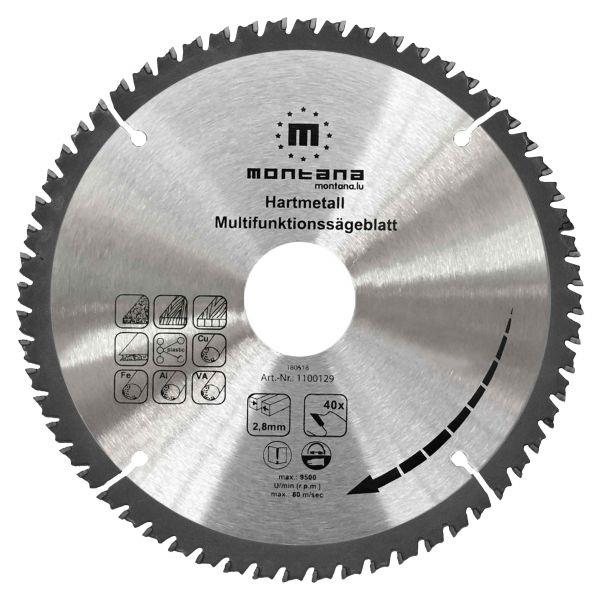 Hartmetall Multifunktionssägeblatt HM 190×1,8×30 mm Z60